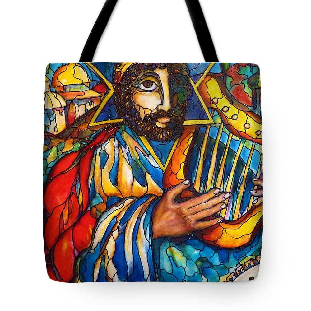 Original Art Tote Bag featuring the painting King David by Rae Chichilnitsky