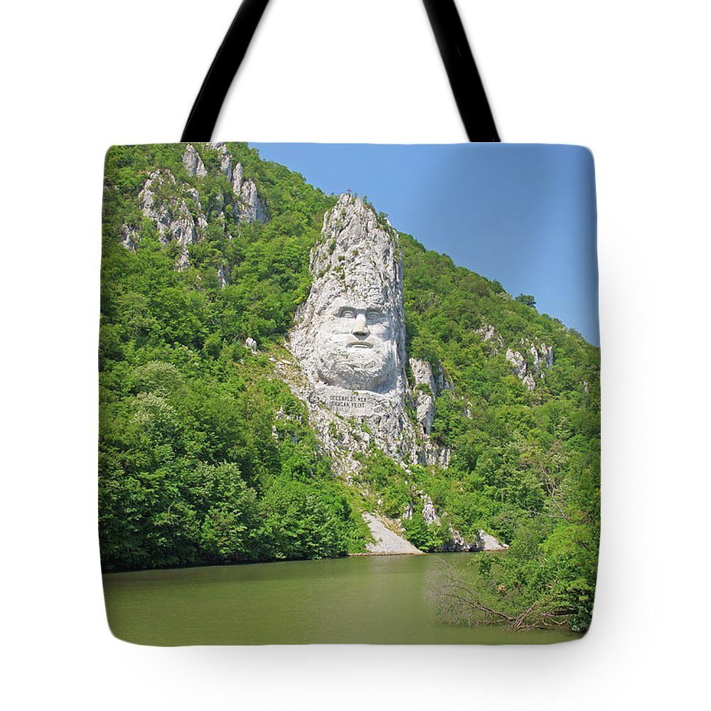 Rock Tote Bag featuring the photograph King Decebal, Rock Sculpture by Cosmin-Constantin Sava
