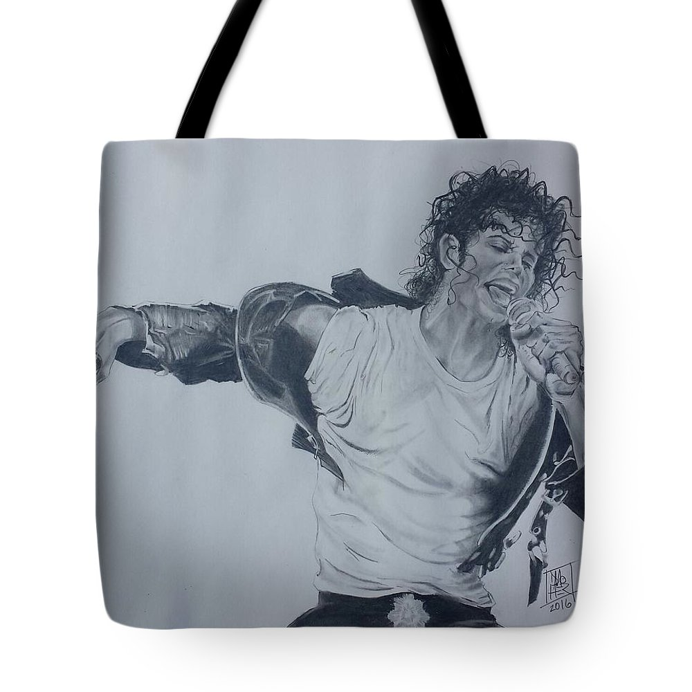 Michael Jackson Tote Bag featuring the drawing King Of Pop by DMo Herr