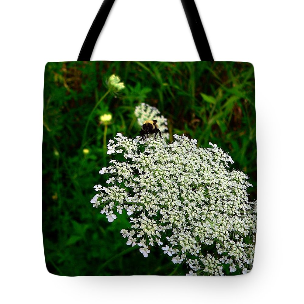 Bumblebee Tote Bag featuring the photograph King Of The Flower by RiaL Treasures
