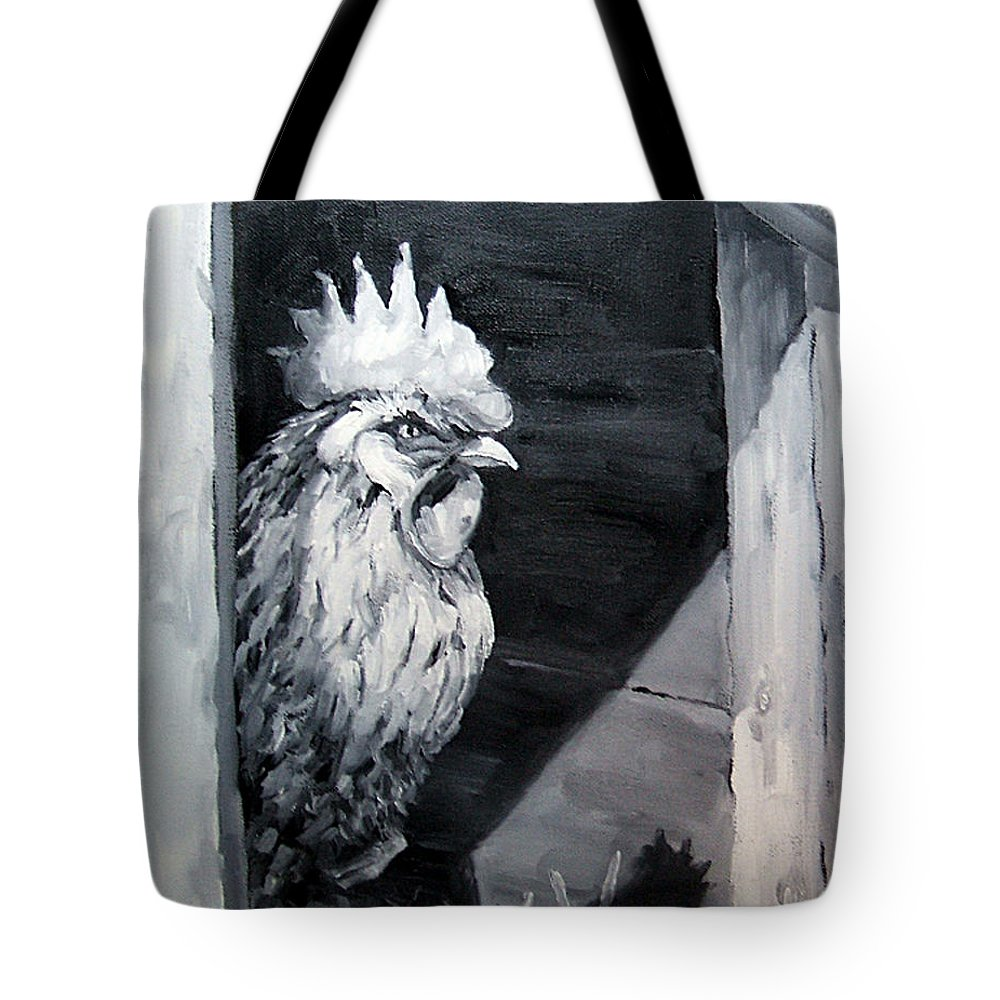Animal Tote Bag featuring the painting King Of The Roost by Diane Kraudelt