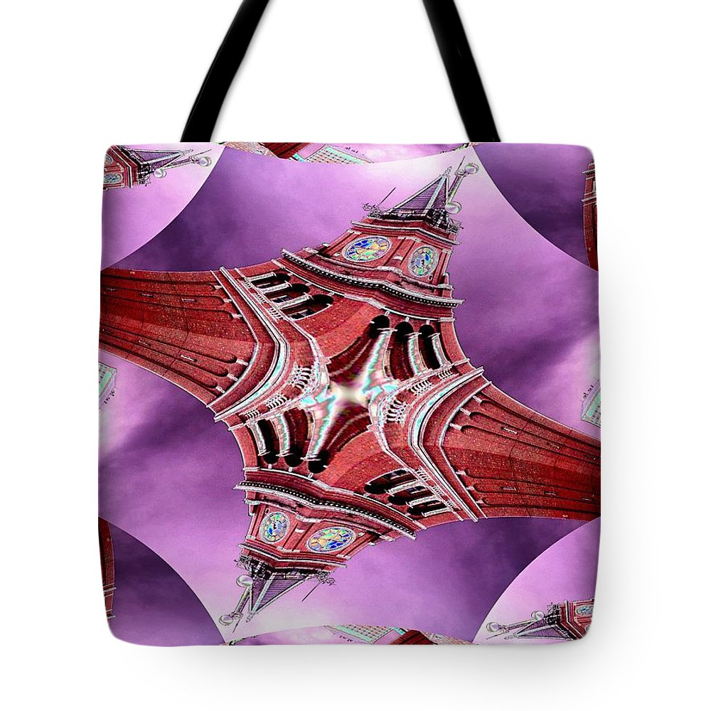 Seattle Tote Bag featuring the digital art King Street Station In Fractal by Tim Allen