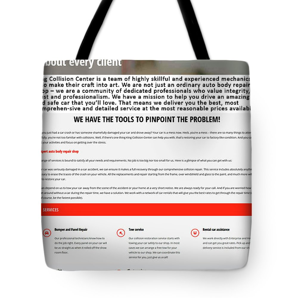 Body Shop Los Angeles Tote Bag featuring the photograph Kingcollisioncenter Infographics by Melissa Ruiz