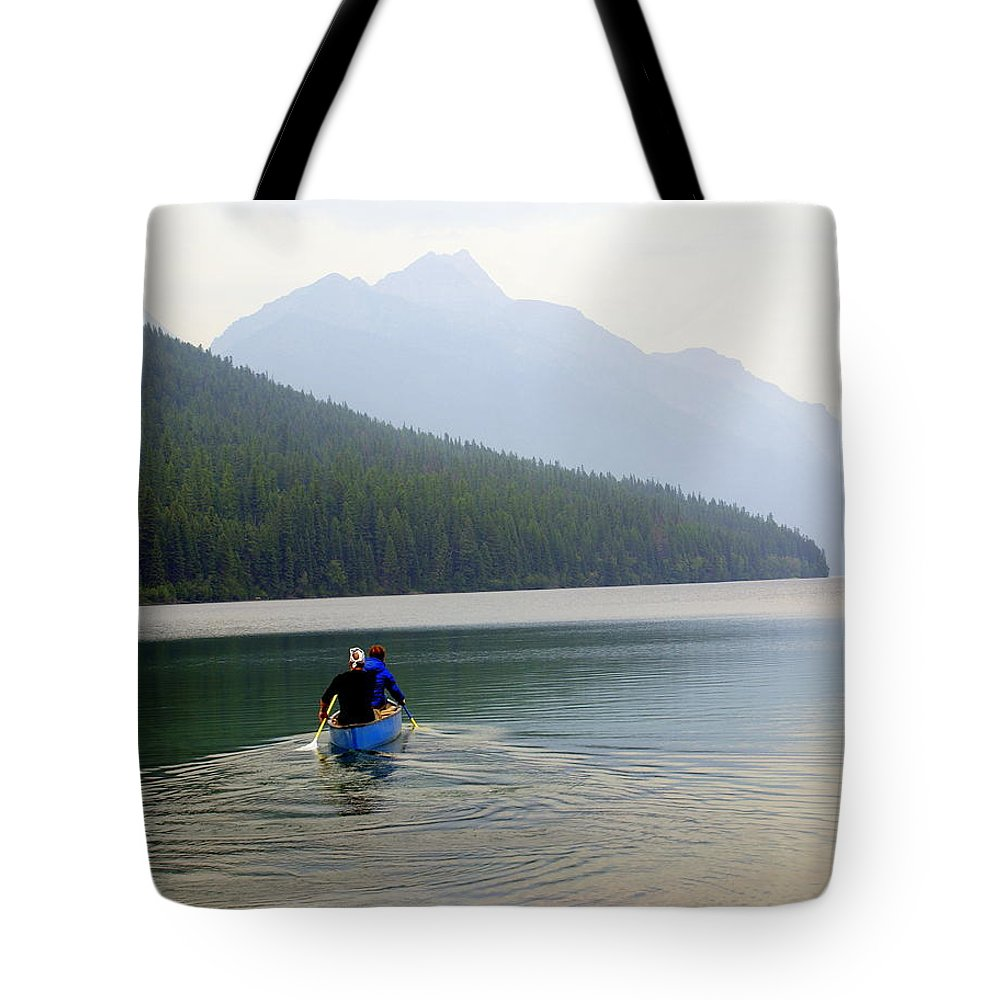 Mountains Tote Bag featuring the photograph Kintla Lake Paddlers by Marty Koch