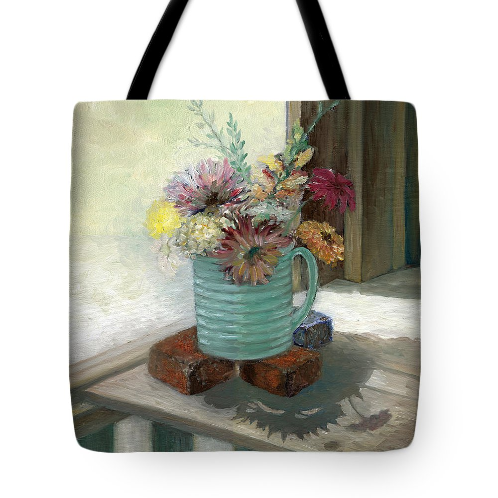 Floral Tote Bag featuring the painting Kiowas' Porch by Valerie Meotti