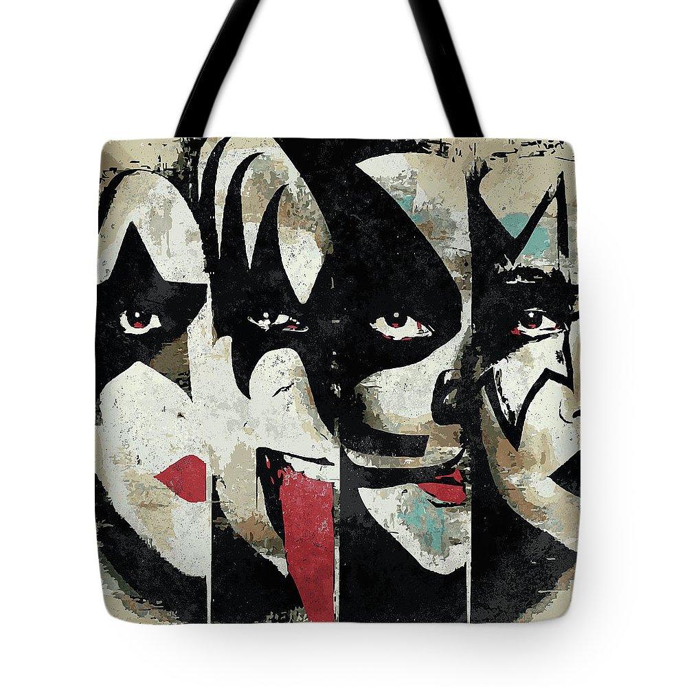 Art Tote Bag featuring the digital art Kiss Art Print by Geek N Rock