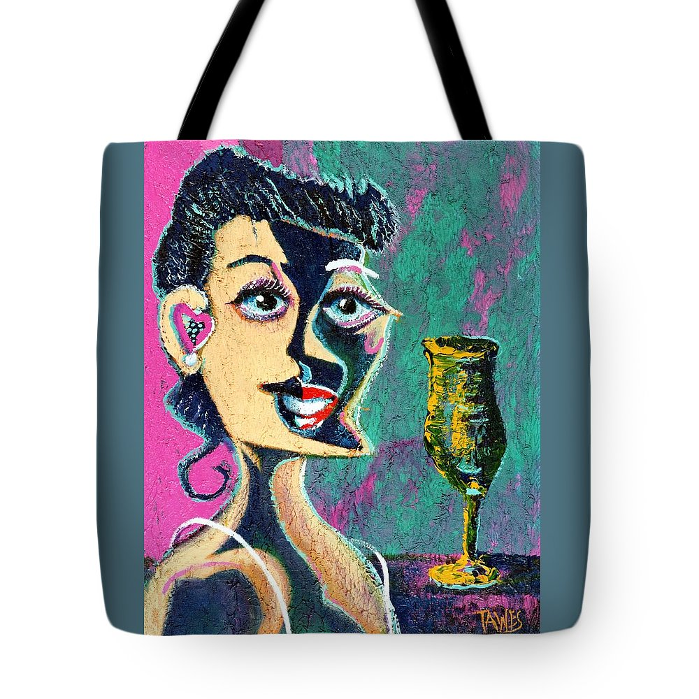 Woman Tote Bag featuring the painting Kiss From The Night by Dennis Tawes