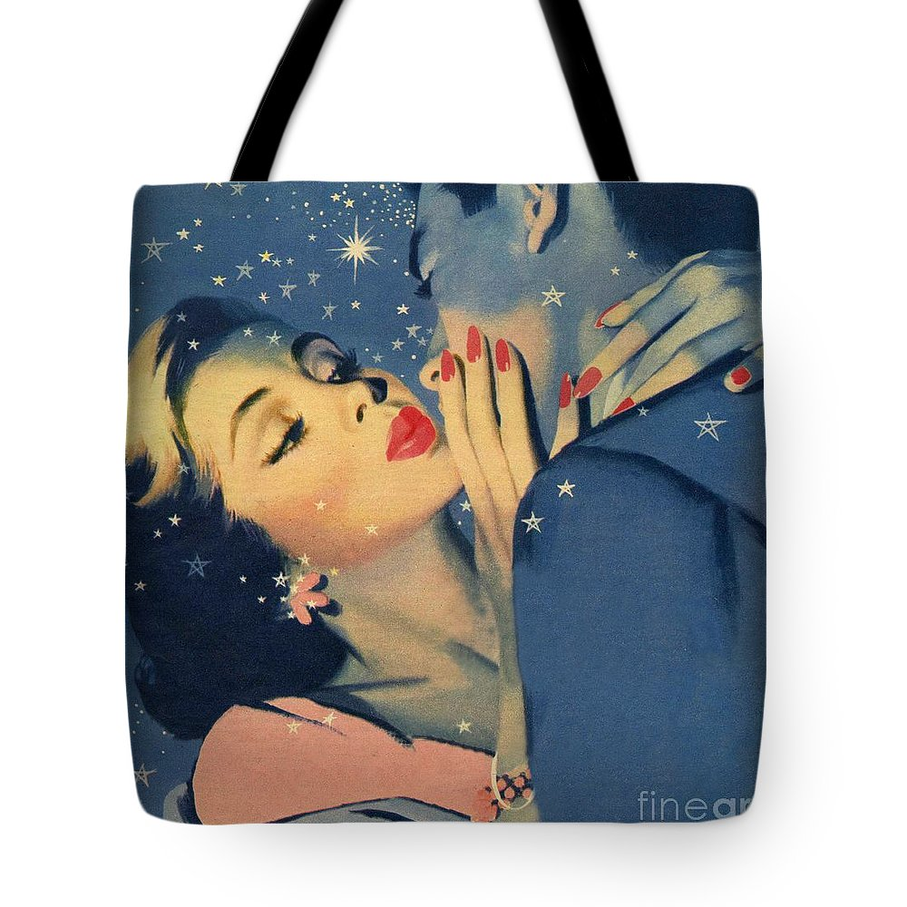 Female; Male; Kiss; Kissing; Embracing; Couple; Lovers; Stars; Love; 50s; Fifties; Romance; Kiss Goodnight Tote Bag featuring the painting Kiss Goodnight by English School