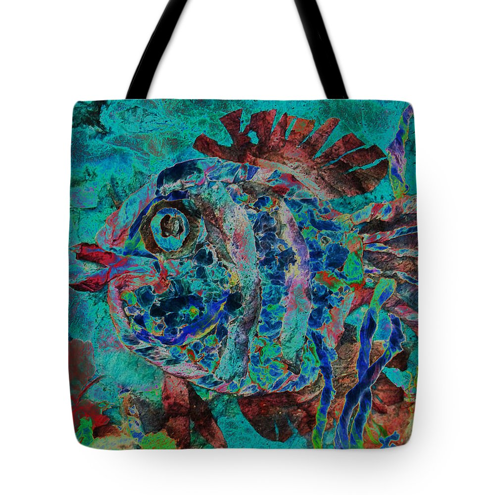 Fish Tote Bag featuring the mixed media Kiss Me by Sue Duda