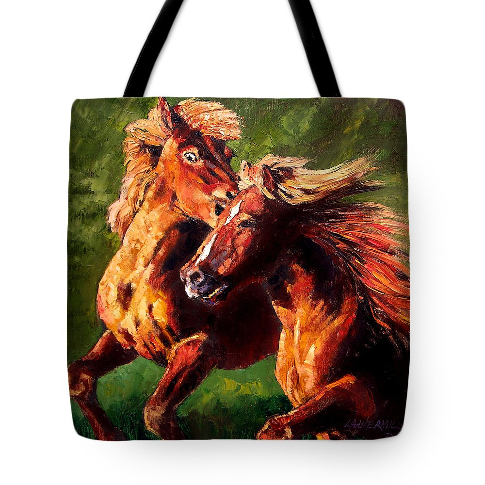Horses Running Tote Bag featuring the painting Kiss on the Run by John Lautermilch