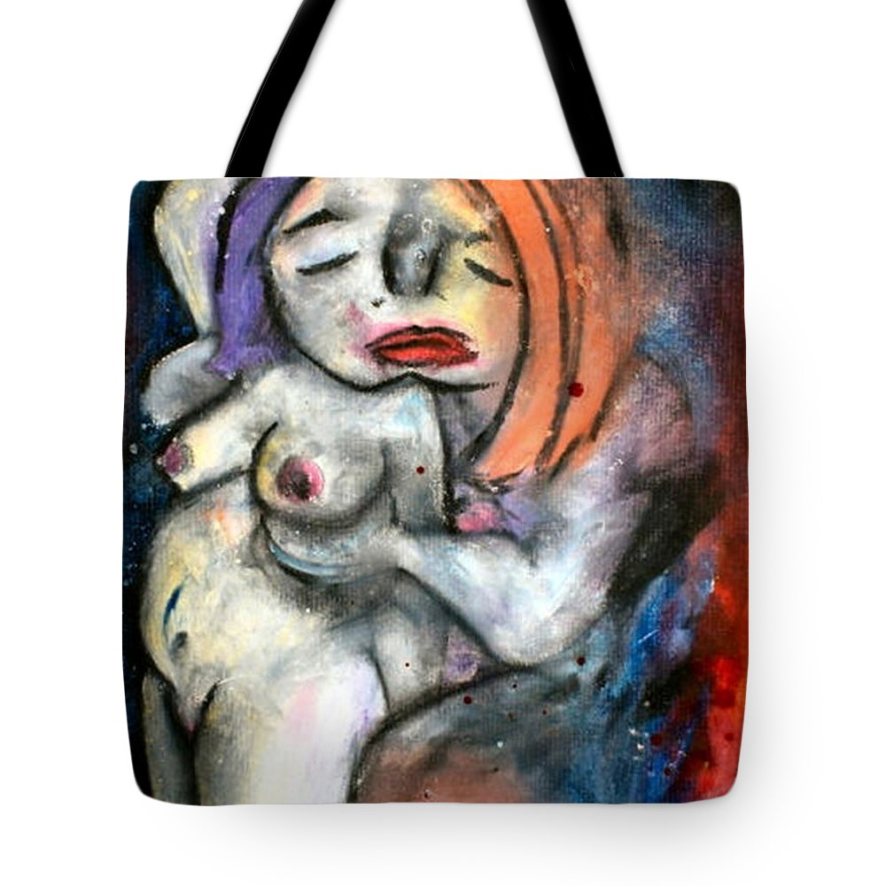 Nudes Tote Bag featuring the drawing Kiss by Thomas Valentine