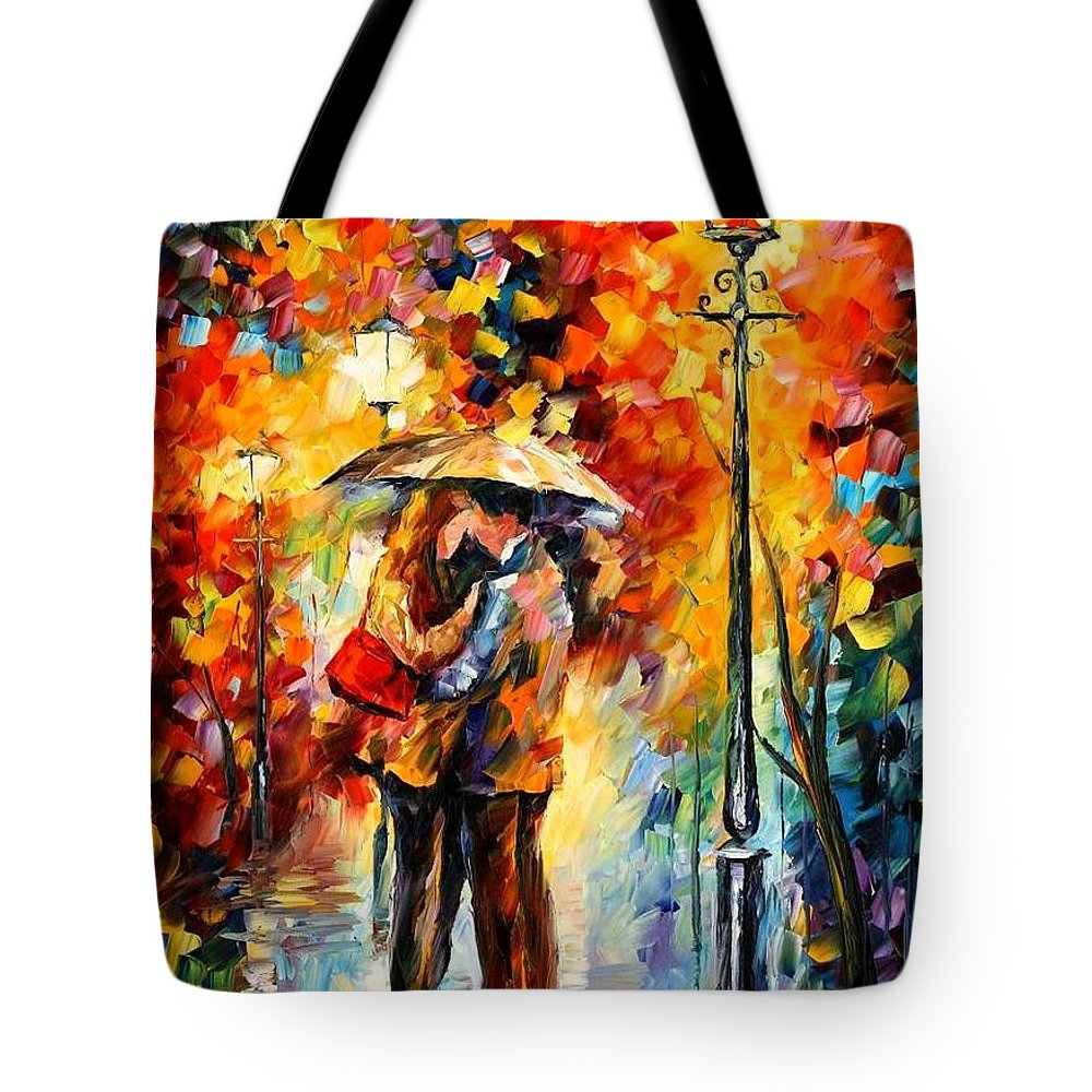 Afremov Tote Bag featuring the painting Kiss Under The Rain by Leonid Afremov