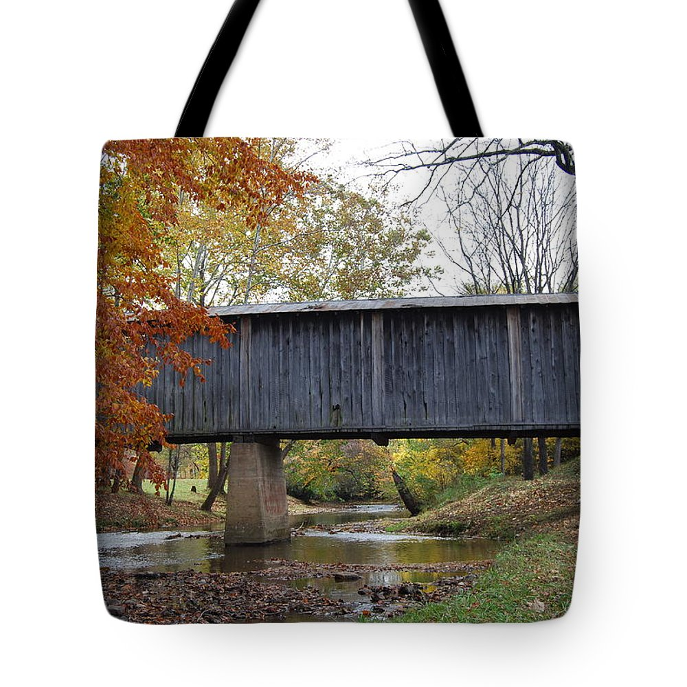Landscape Tote Bag featuring the photograph Kissing Bridge At Fall by Eric Liller