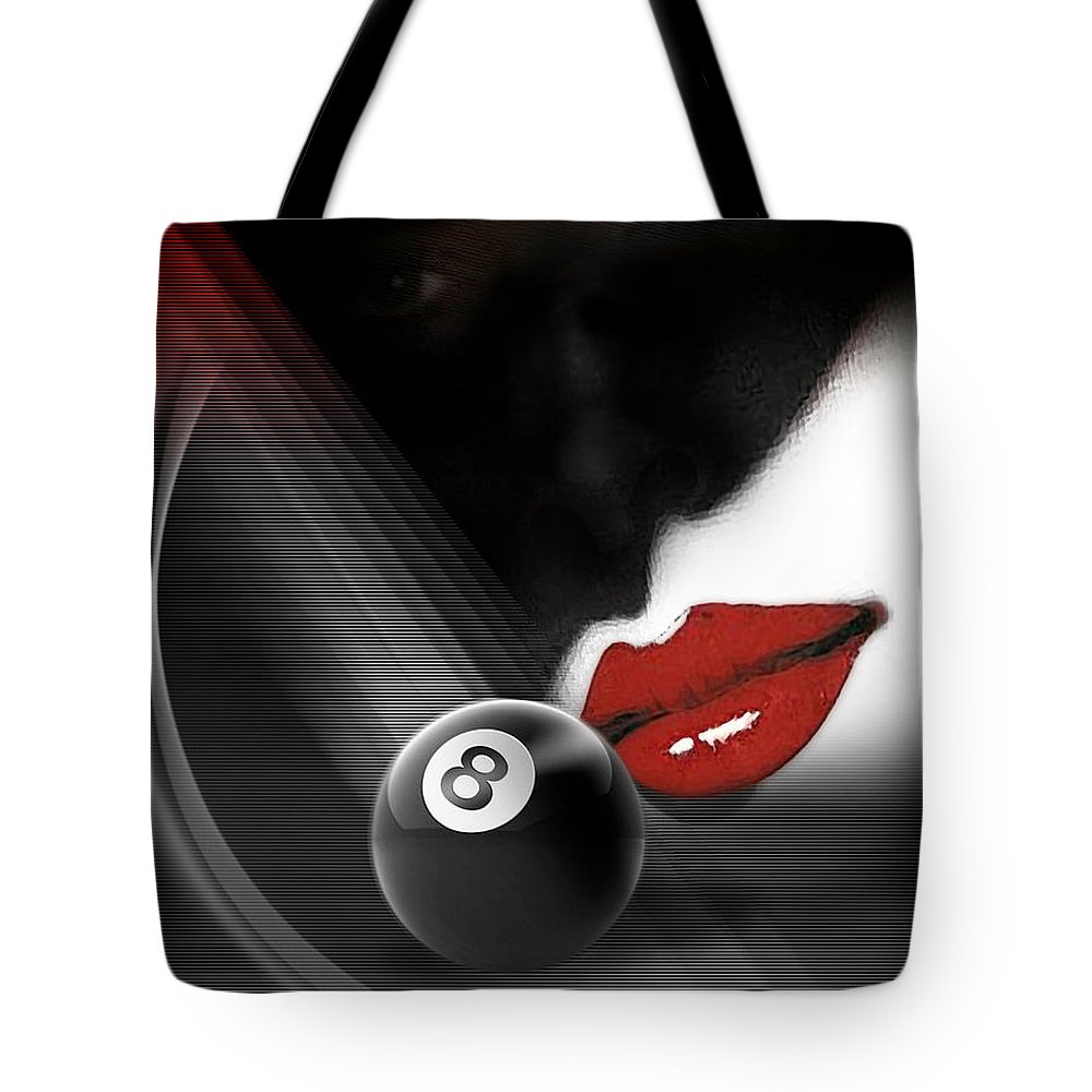 Pool Tote Bag featuring the digital art Kissshot2 by Draw Shots