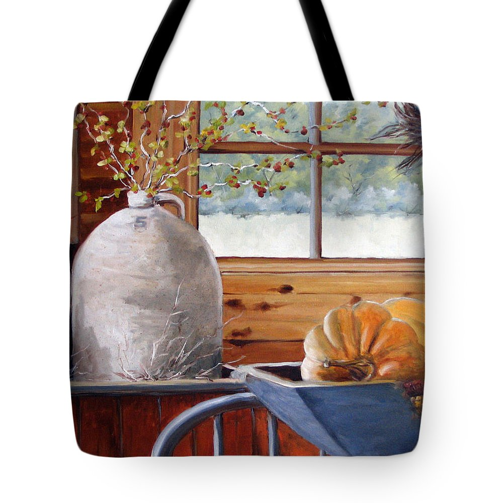 Kitchen Tote Bag featuring the painting Kitchen Scene by Richard T Pranke