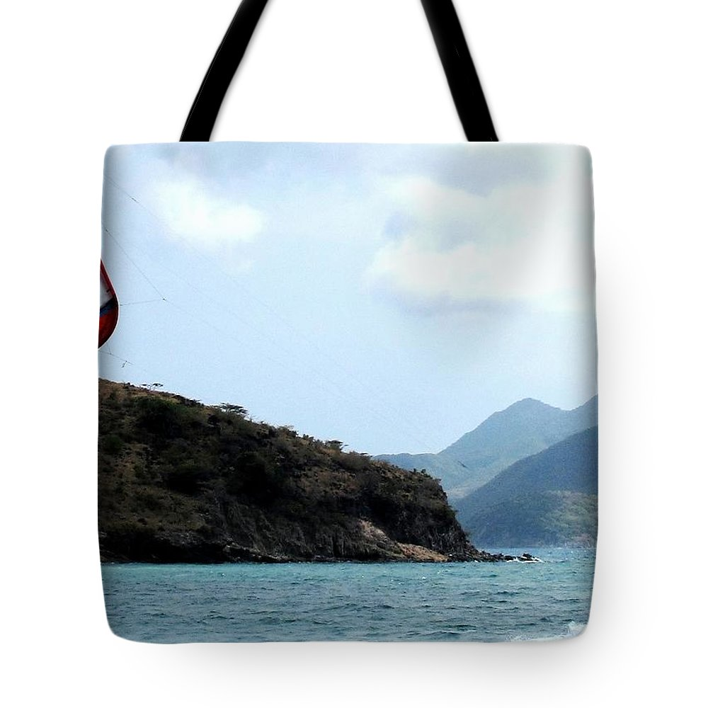 Kite Tote Bag featuring the photograph Kite Surfer St Kitts by Ian MacDonald