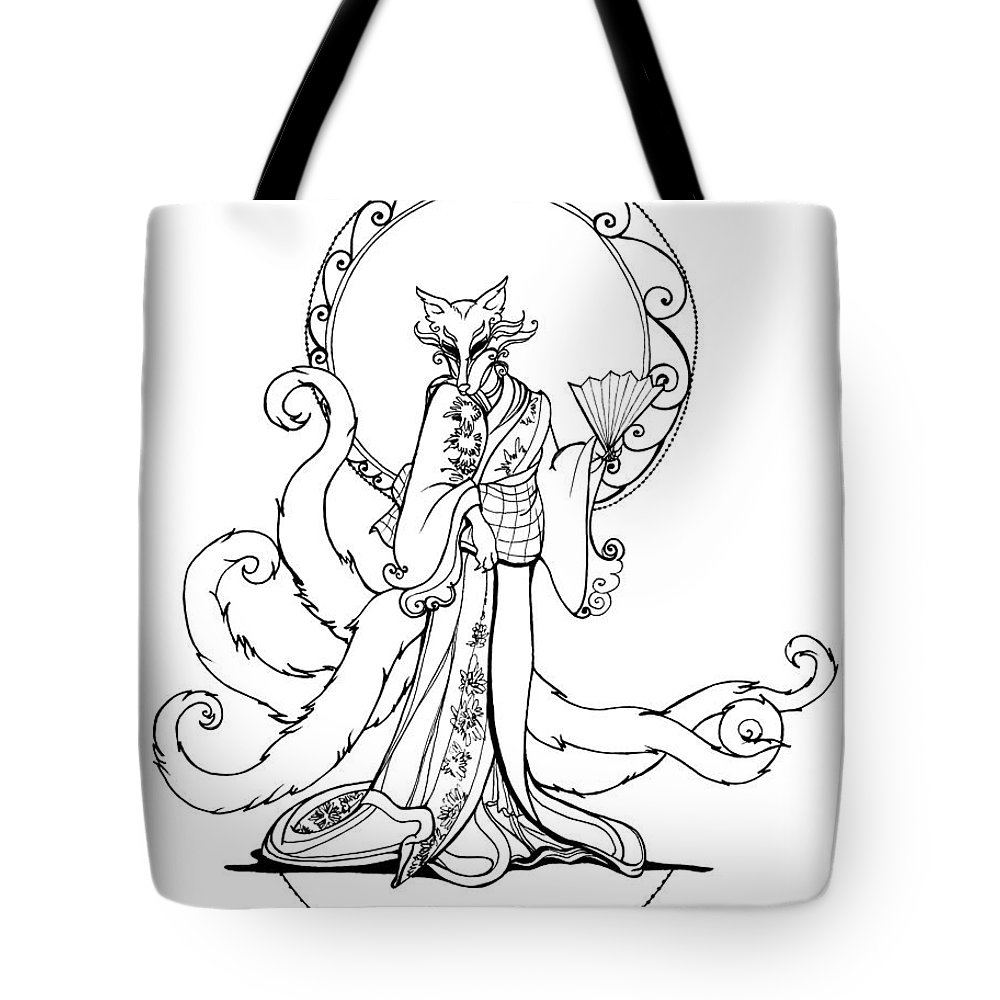 Foxy Tote Bag featuring the drawing Kitsune Lady by Katherine Nutt