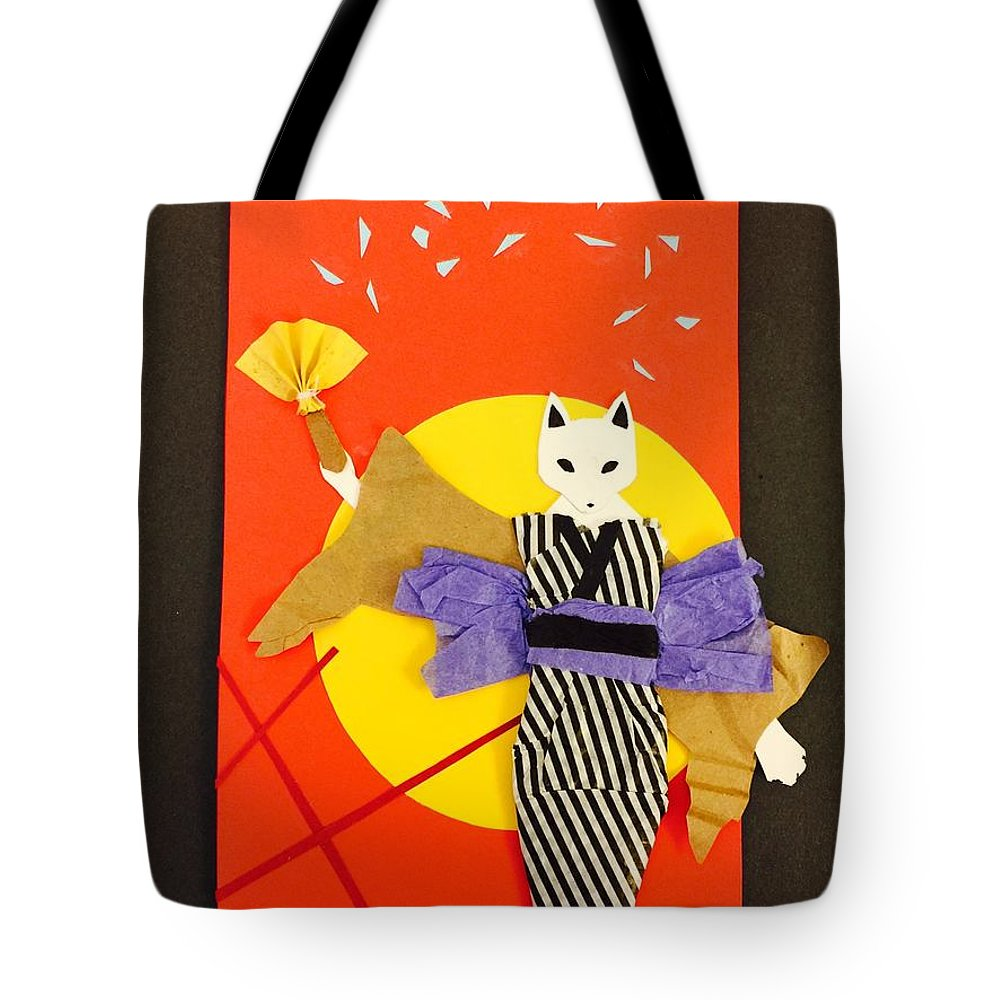 Art & Collectibles Tote Bag featuring the mixed media Kitsune Maiden by AmaSepia Gittens-Jones' Fox And Fantasy Designs