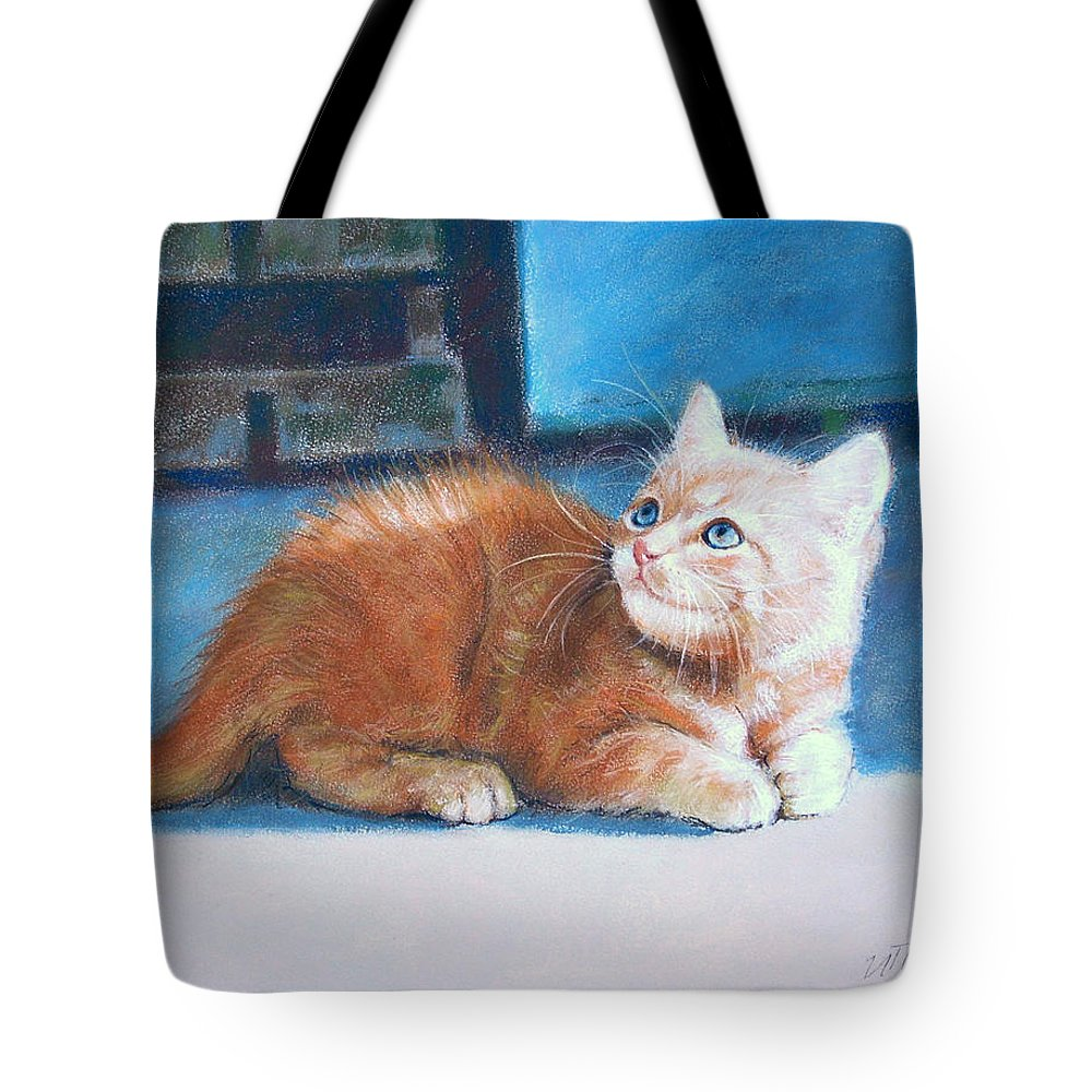 Cats Tote Bag featuring the pastel Kitten by Iliyan Bozhanov