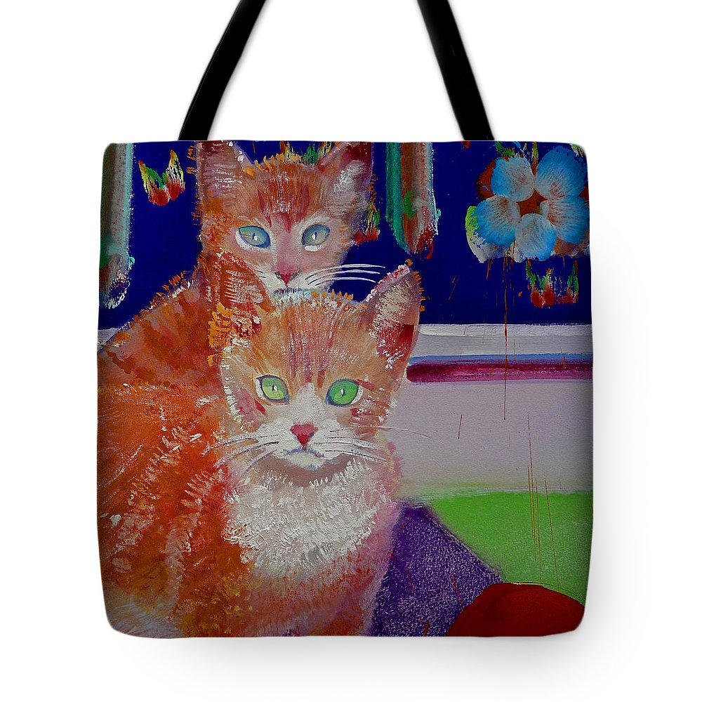 Kittens Tote Bag featuring the painting Kittens With Wild Wallpaper by Charles Stuart