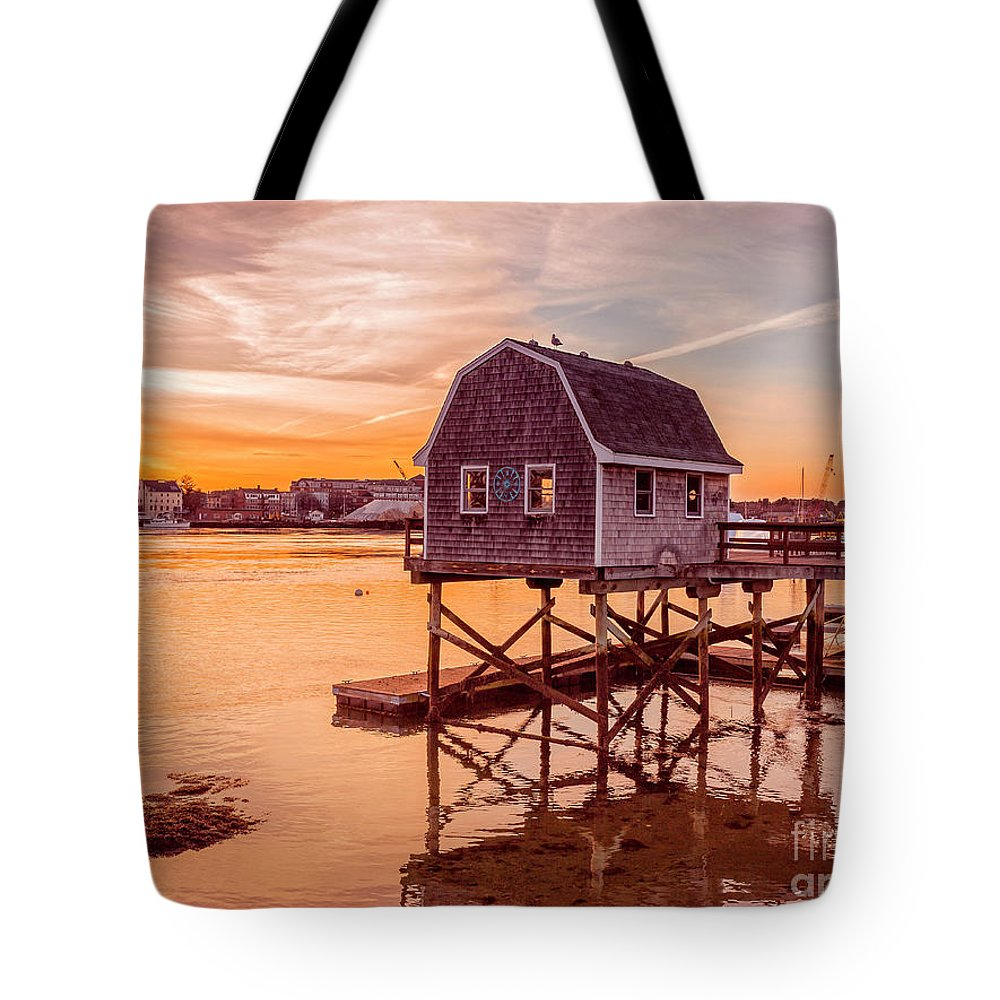 Sunset Tote Bag featuring the photograph Kittery Maine Harbor Sunset by Edward Fielding