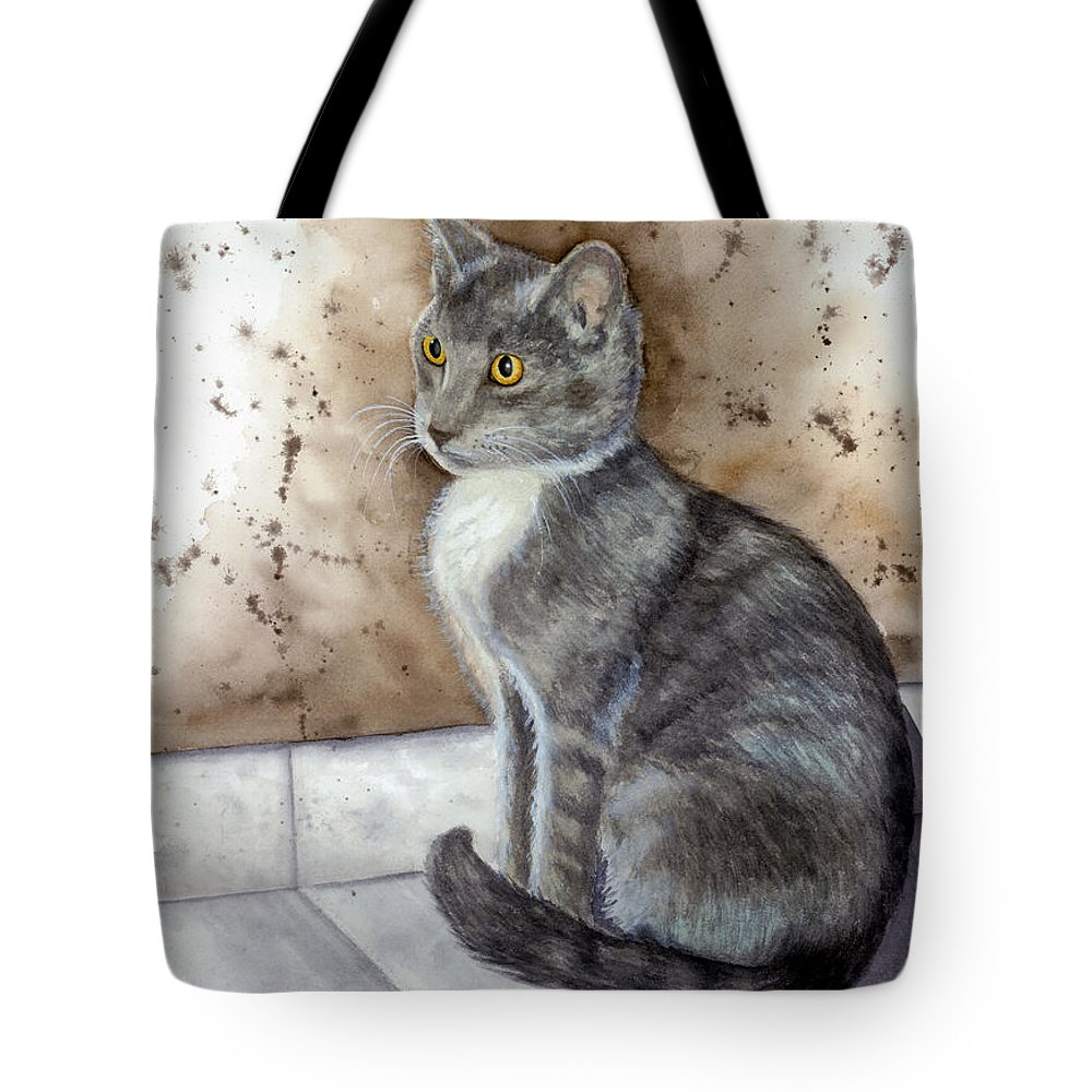 Cat Tote Bag featuring the painting Kitty by Mary Tuomi