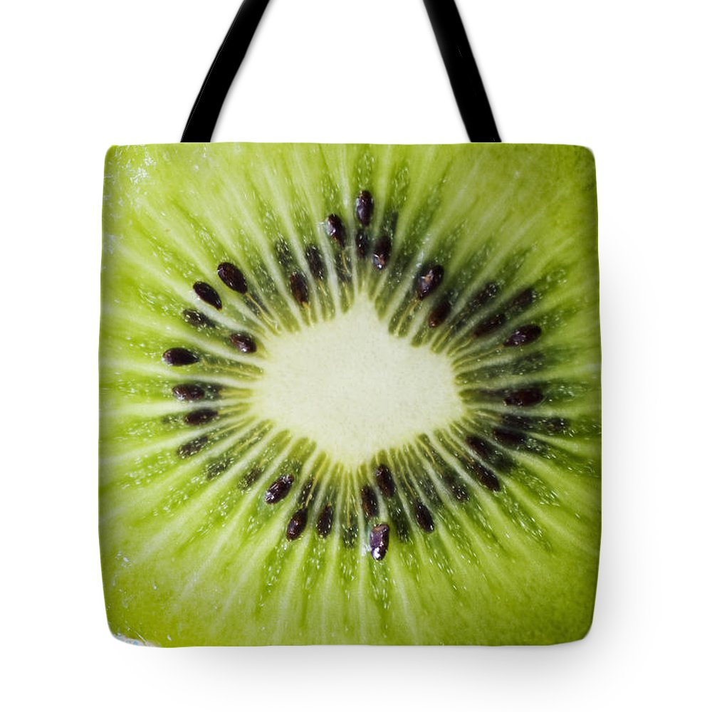 Asian Tote Bag featuring the photograph Kiwi Cut by Ray Laskowitz - Printscapes
