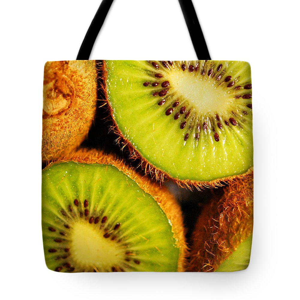Kiwi Tote Bag featuring the photograph Kiwi Fruit by Nancy Mueller