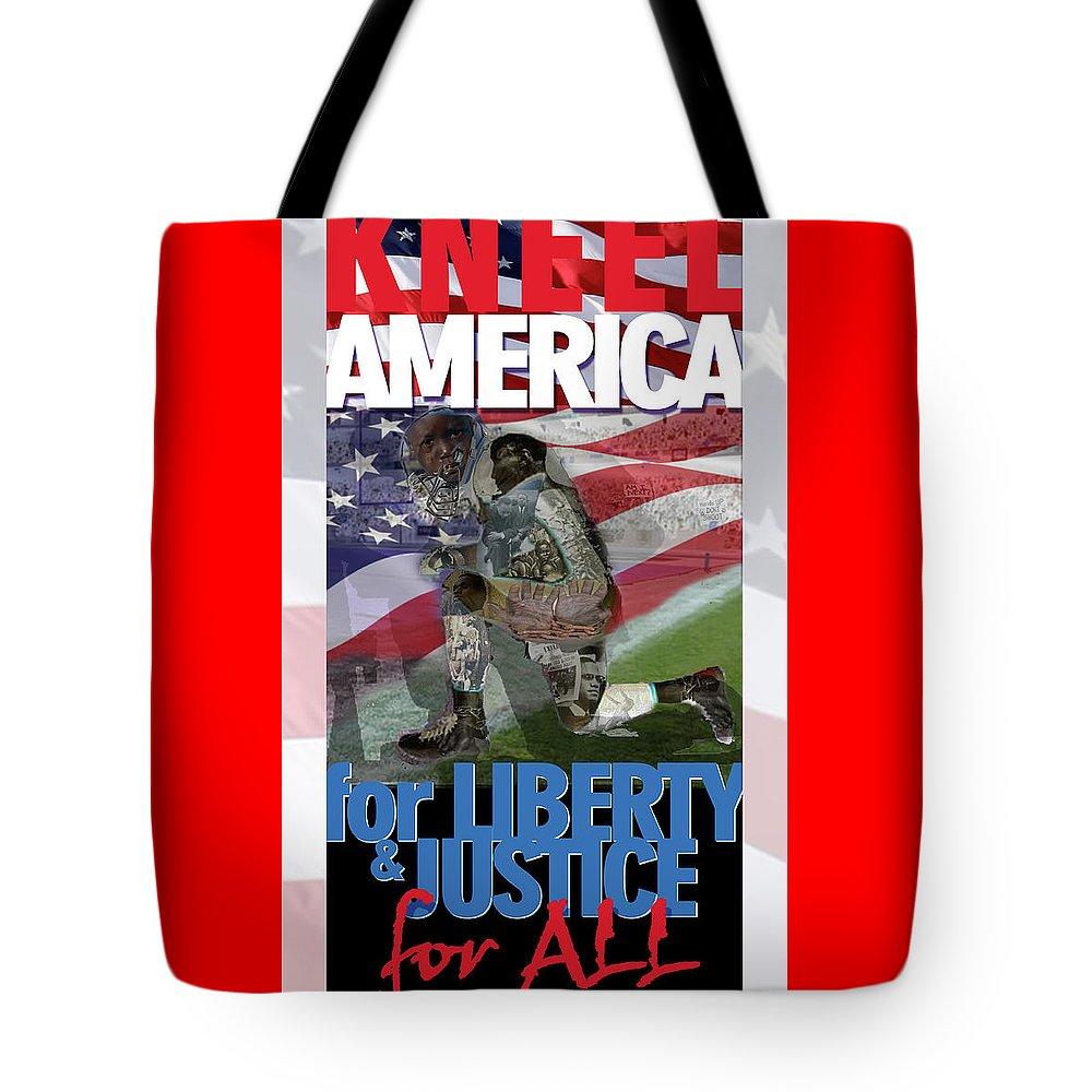 Freedom Tote Bag featuring the digital art Kneel America by Jorge Delara