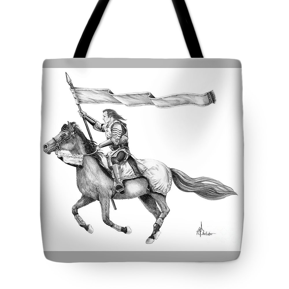 Pencil Tote Bag featuring the drawing Knight In Armor by Murphy Elliott