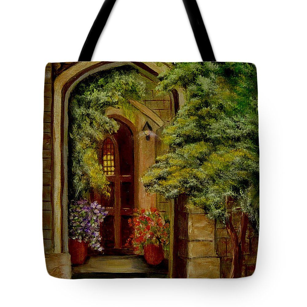 Door Tote Bag featuring the painting Knight's Door by Quwatha Valentine