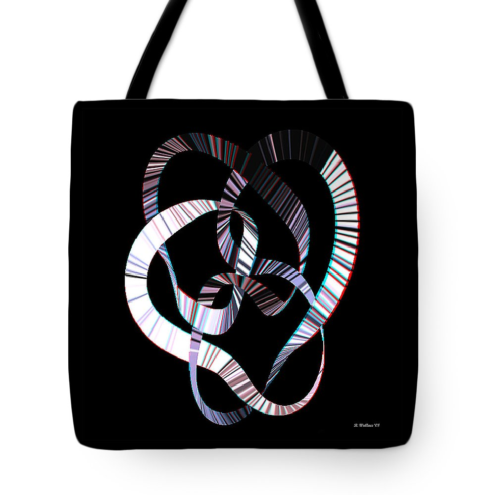 3d Tote Bag featuring the digital art Knotplot 2 - Use Red-cyan 3d Glasses by Brian Wallace