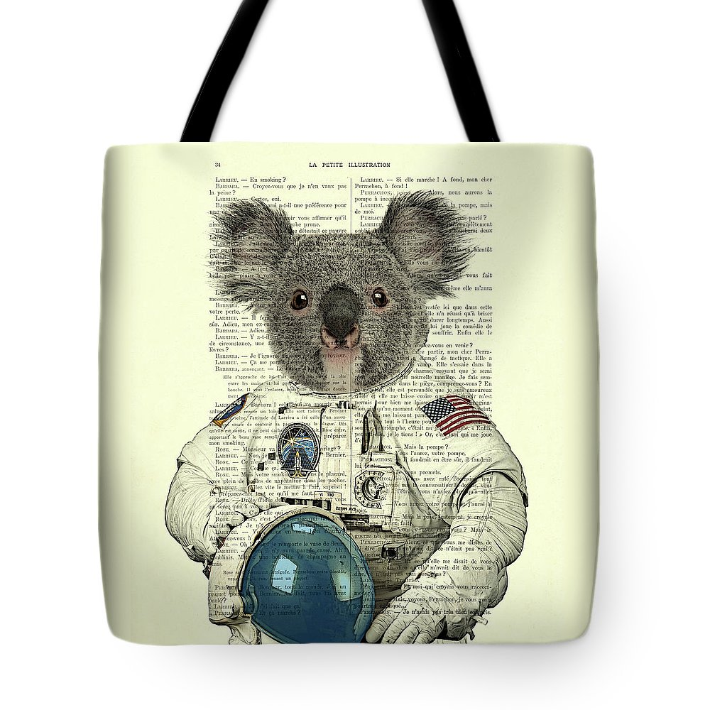 Astronaut Tote Bag featuring the digital art Koala in space illustration by Madame Memento