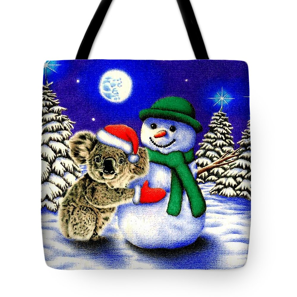 Koala Tote Bag featuring the drawing Koala With Snowman by Remrov