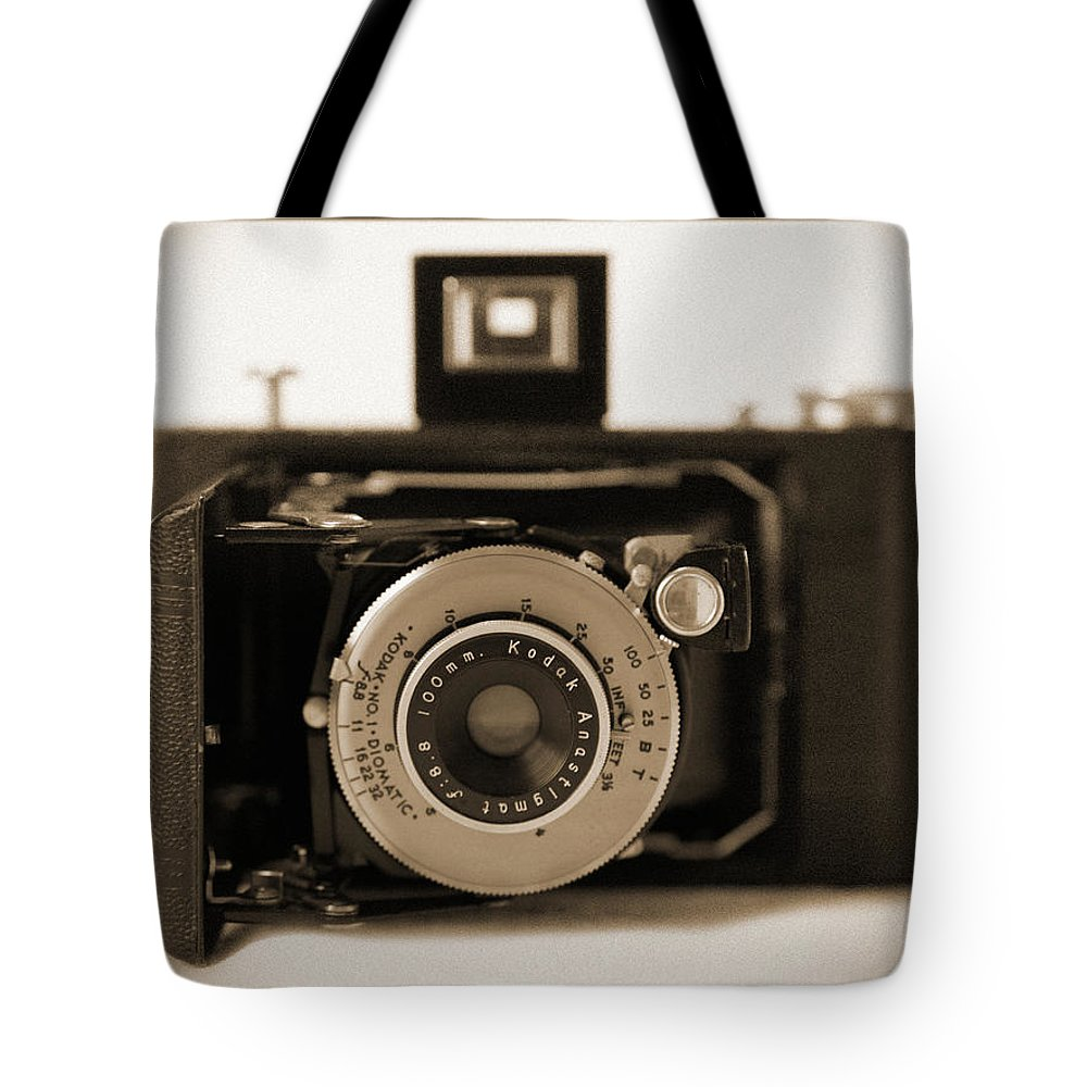 Vintage Kodak Camera Tote Bag featuring the photograph Kodak Diomatic by Mike McGlothlen