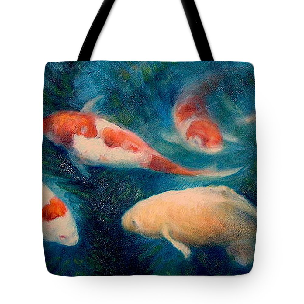 Realism Tote Bag featuring the painting Koi Ballet 2 by Donelli DiMaria
