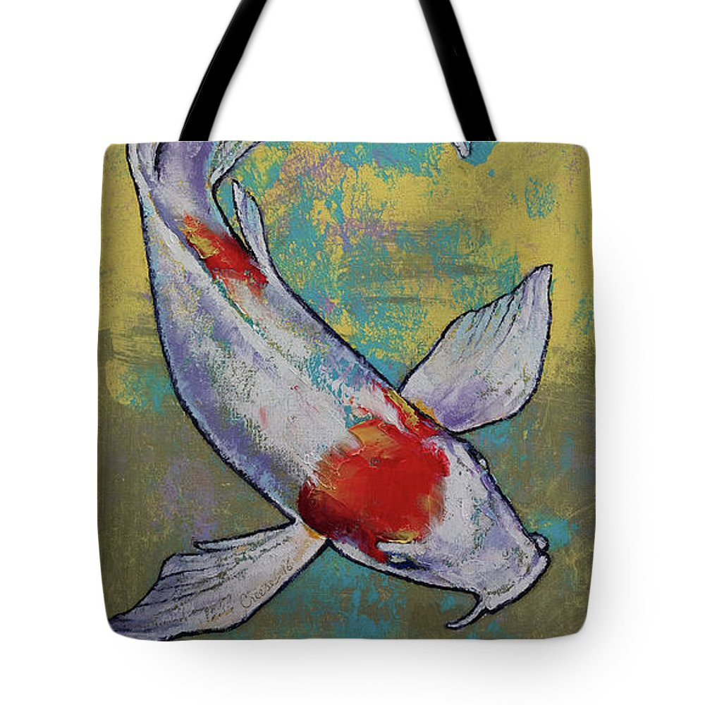 Asian Tote Bag featuring the painting Koi Fish by Michael Creese