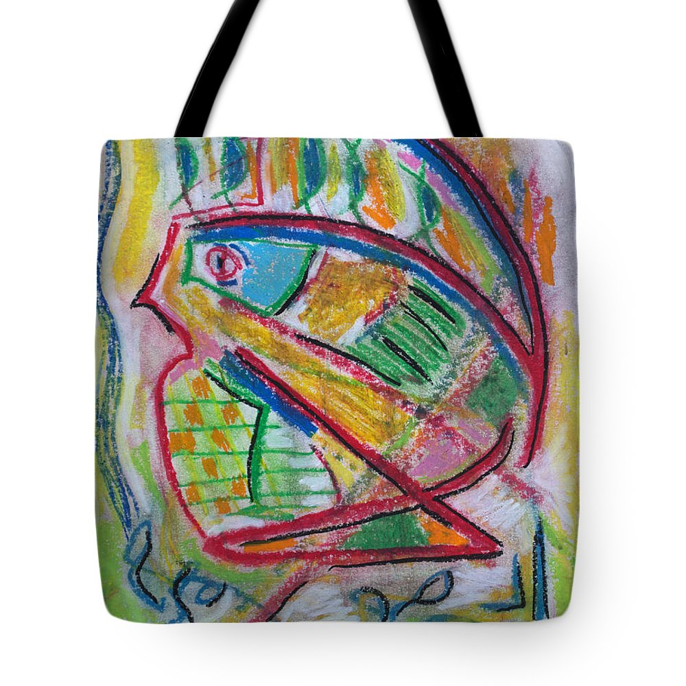 Abstract Impressionist Drawing Tote Bag featuring the drawing Koi In The Pond by J R Seymour