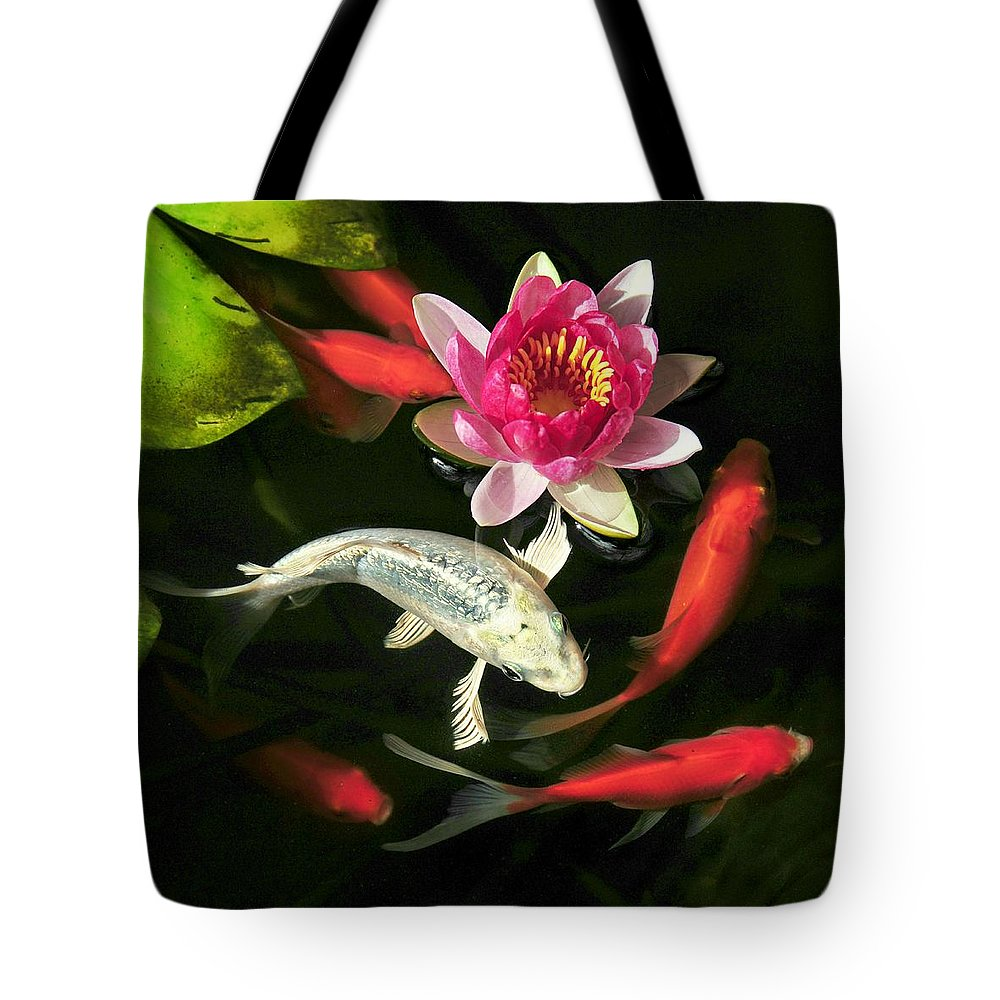 Fish Tote Bag featuring the photograph Koi Joi by Sher Falls
