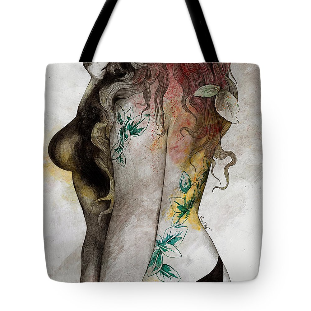 Thong Tote Bag featuring the drawing Koi No Yokan - Erotic Drawing, Sexy Tattoo Girl In Thong Biting An Apple by Marco Paludet