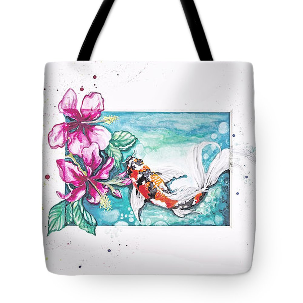 Koi Pond Tote Bag featuring the painting Koi Of The Tropics by Vivian Casey