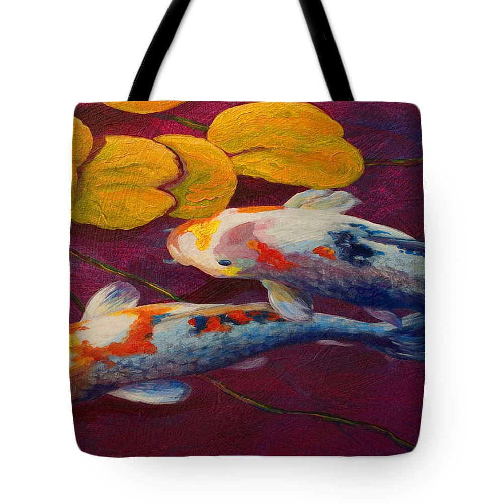 Water Lily Tote Bag featuring the painting Koi Pond II by Marion Rose