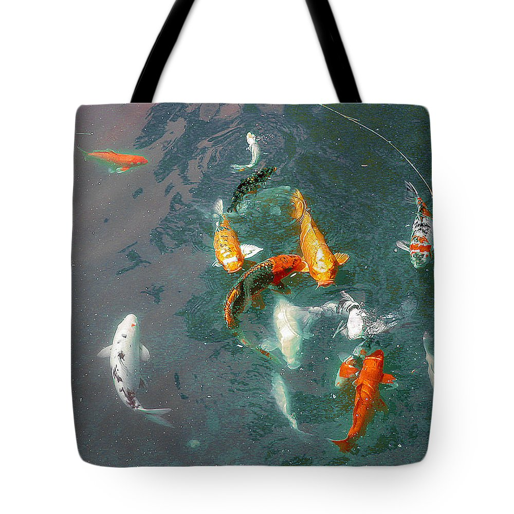 Koi Tote Bag featuring the photograph Koi Symphony 1 Stylized by Anne Cameron Cutri