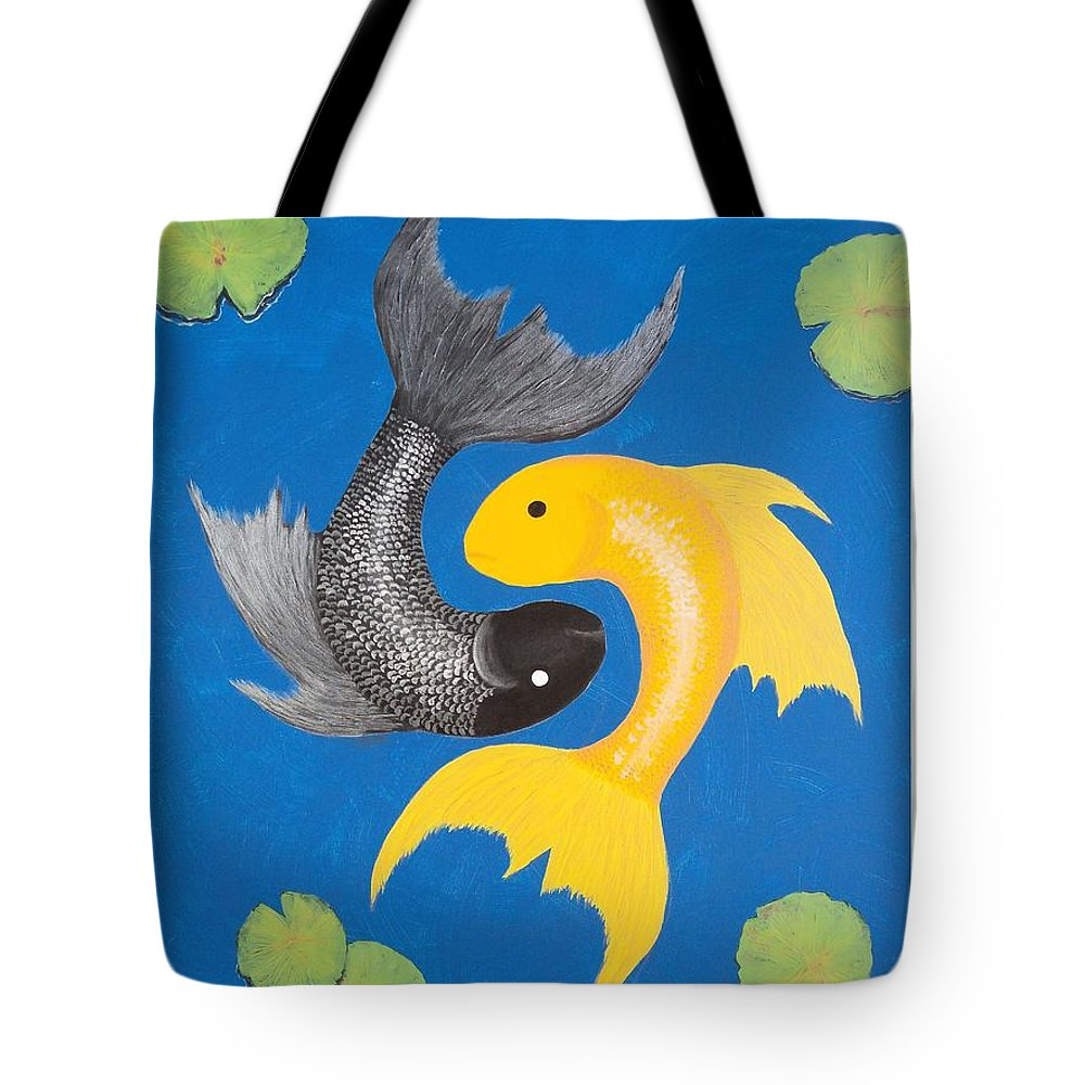 Yin Yang Tote Bag featuring the painting Koi Yin-yang by Daniel McQuestion