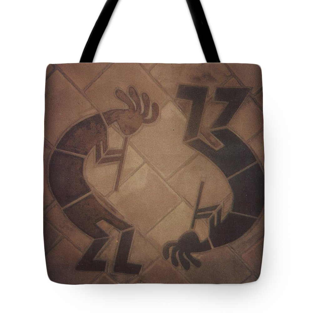 Tile Tote Bag featuring the relief kokopelli Hand cut Tiles by Patrick Trotter