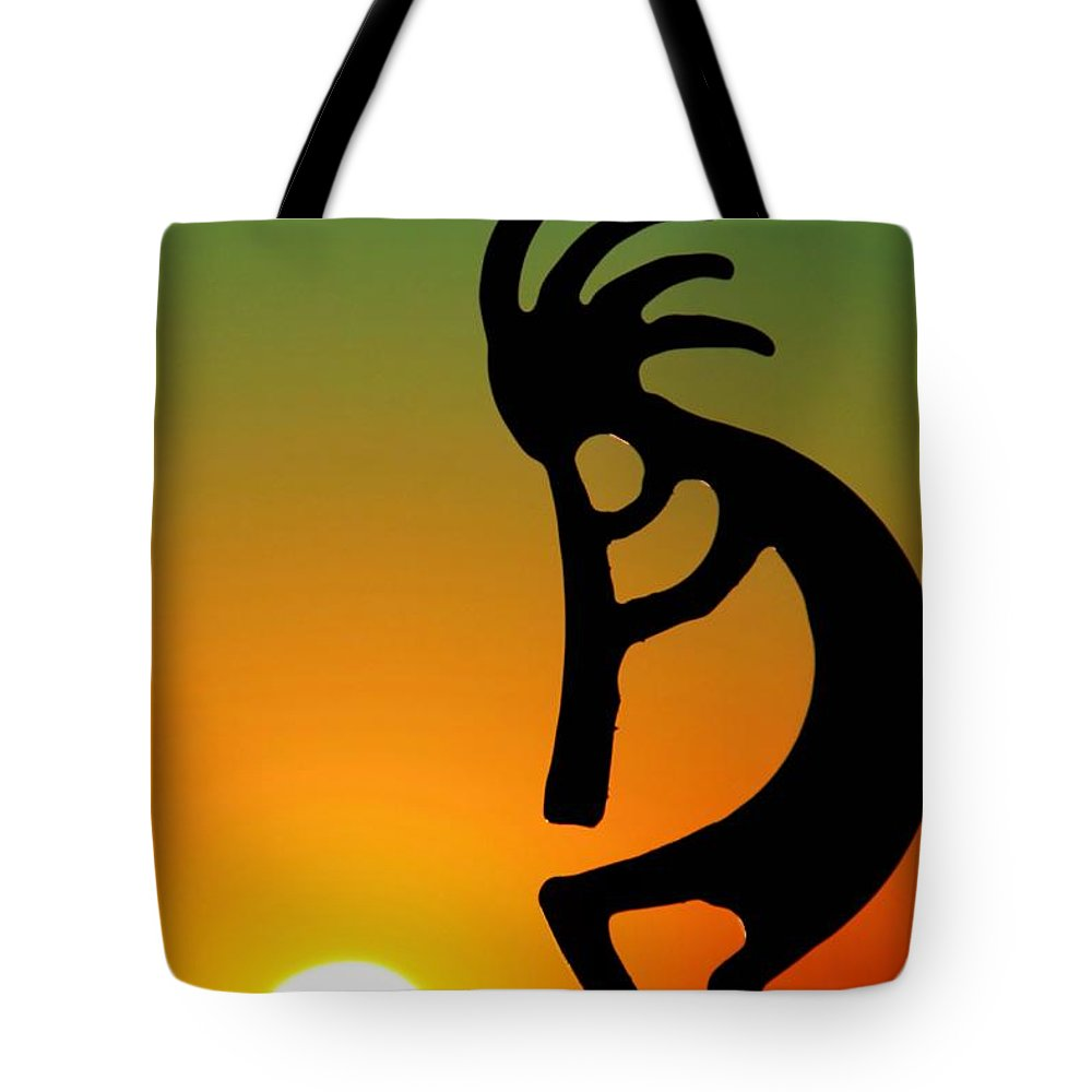 Sunrise Tote Bag featuring the photograph Kokopelli by Mitch Cat