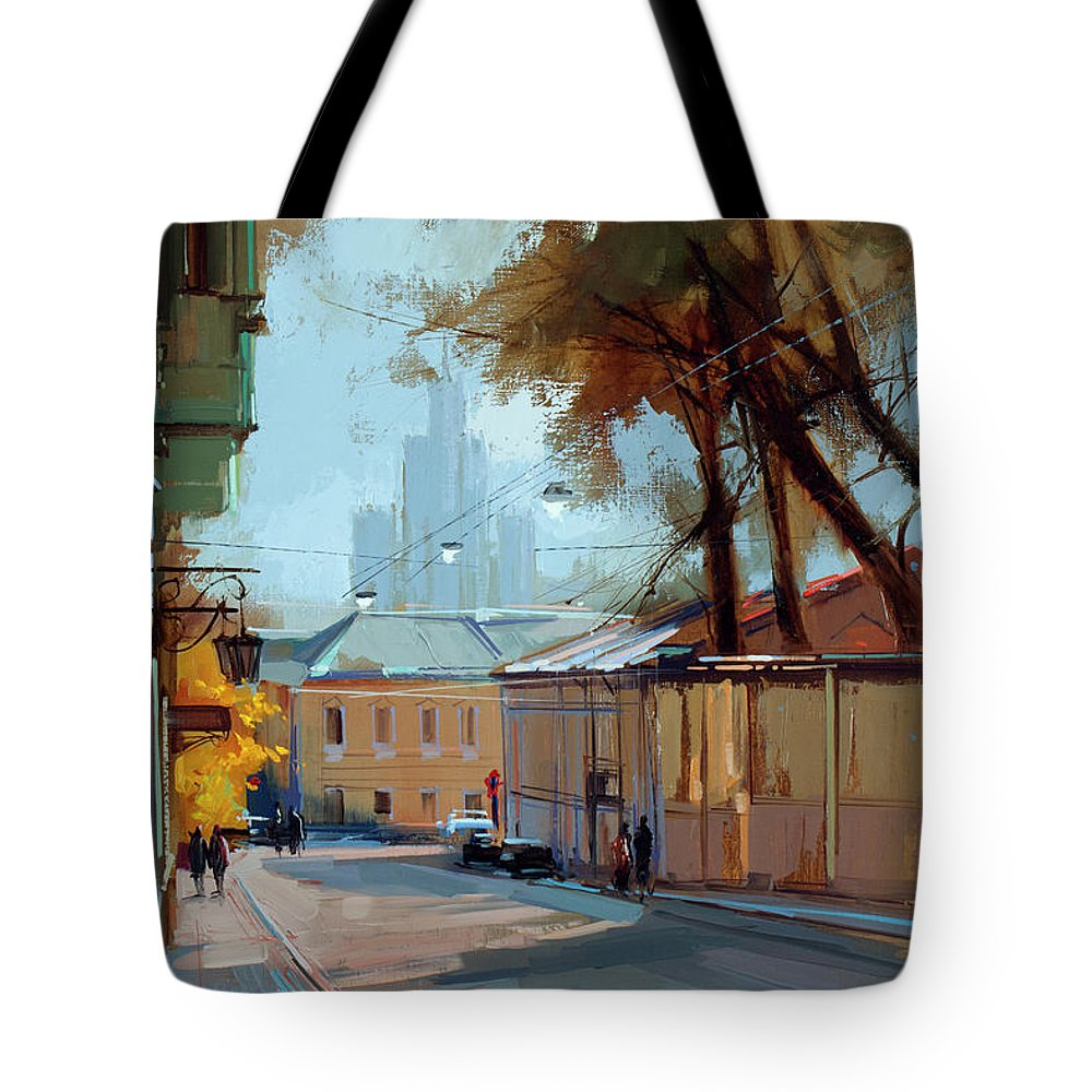 Cityscape Tote Bag featuring the painting Kolpachny Lane. Autumn Motive. by Alexey Shalaev