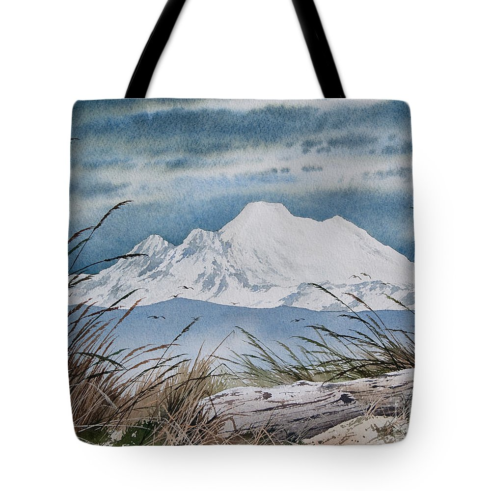Landscape Fine Art Print Tote Bag featuring the painting Koma Kulshan by James Williamson