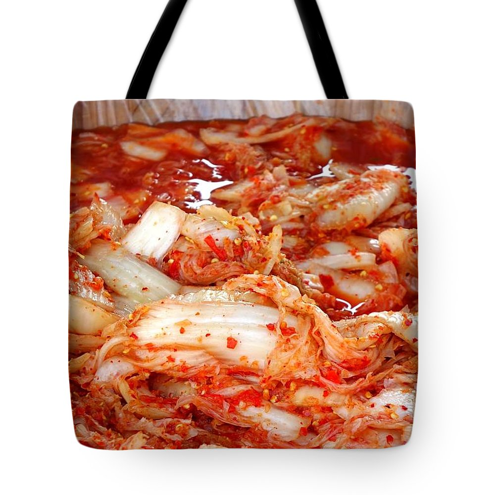 Korean Tote Bag featuring the photograph Korean Style Fermented Spicy Cabbage by Yali Shi