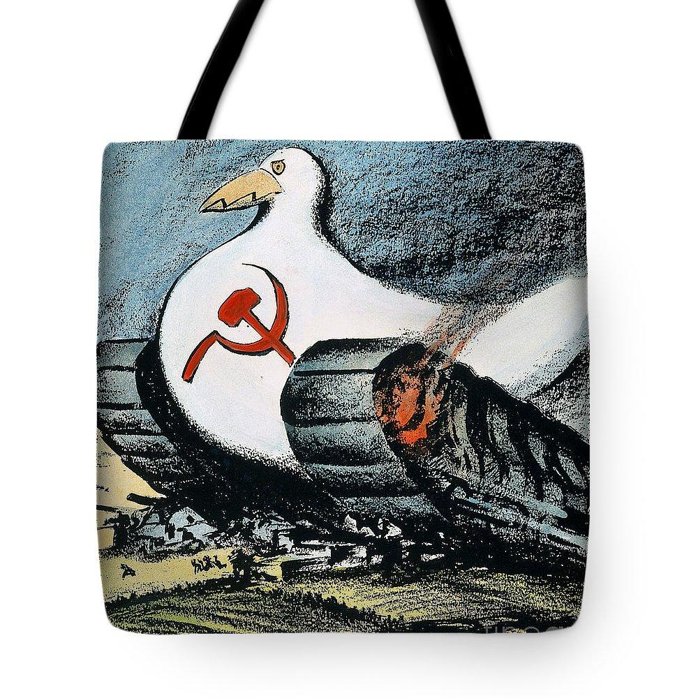 1950 Tote Bag featuring the photograph Korean War: Cartoon, 1950 by Granger